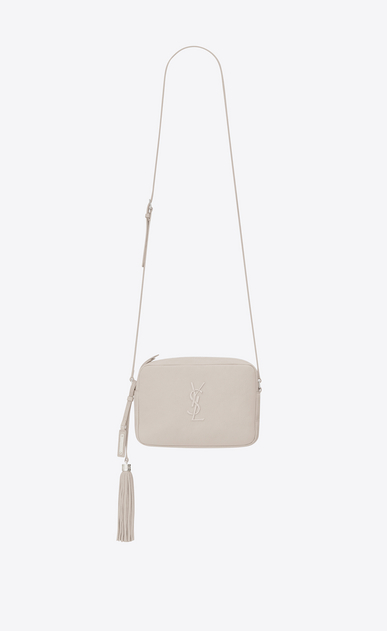 SAINT LAURENT Monogram Lou Donna lou camera bag in pelle bianco ghiaccio a_V4