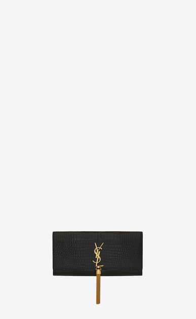 SAINT LAURENT MONOGRAM KATE WITH TASSEL D classic monogram saint laurent tassel clutch in black crocodile embossed leather a_V4