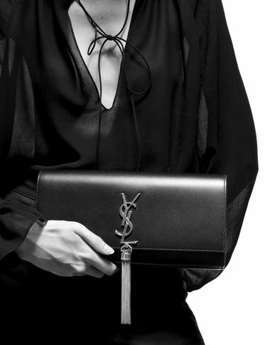 629f8eb1b5dbd Yves Saint Laurent - kate tassel clutch in embossed crocodile shiny leather  - 2