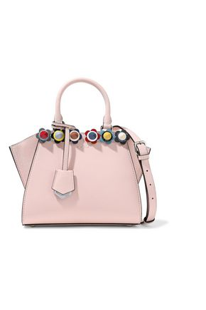 FENDI Appliquéd leather shoulder bag