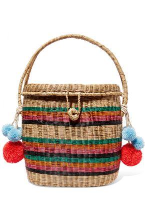 Cinto pompom-embellished woven raffia tote