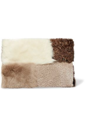 IRIS & INK Catherine patchwork shearling clutch