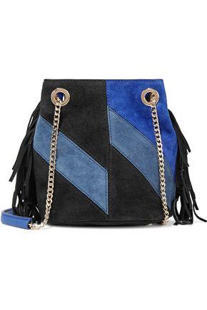 MAJE Color-block fringed suede shoulder bag