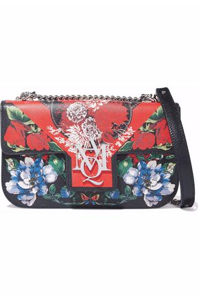 ALEXANDER MCQUEEN Floral-print leather shoulder bag