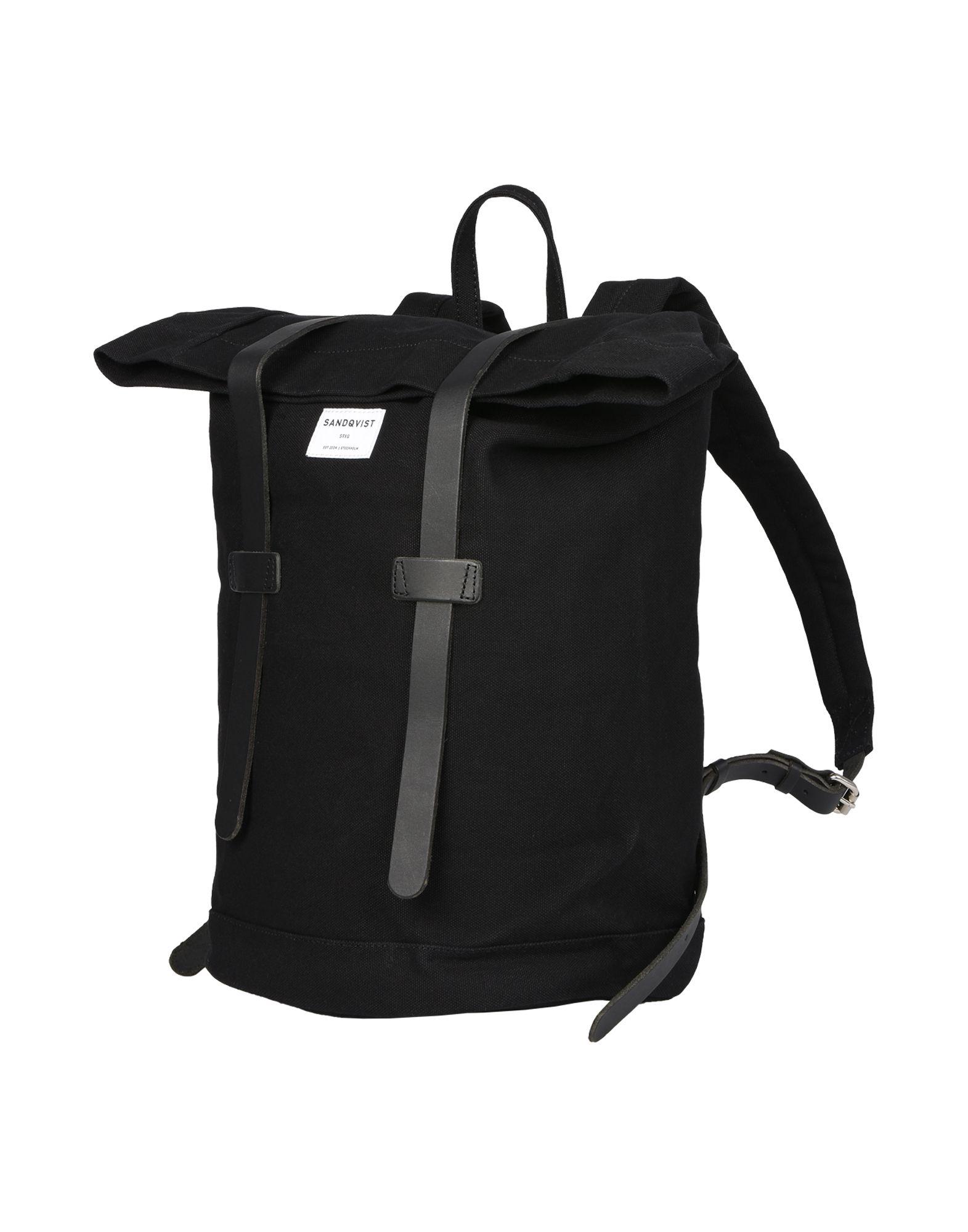 《送料無料》SANDQVIST メンズ バックパック&ヒップバッグ ブラック コットン 100%