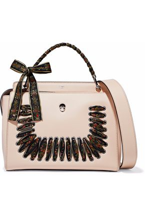 FENDI Ribbon-trimmed leather tote