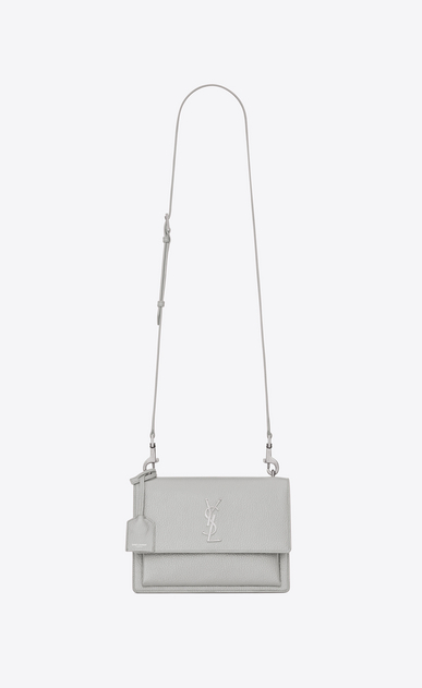 SAINT LAURENT Sunset Woman Medium SUNSET Satchel in chalk white Grained Leather a_V4