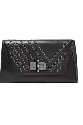 DIANE VON FURSTENBERG Gallery Uptown eyelet-embellished leather clutch