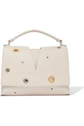 JIL SANDER Eyelet-embellished leather tote