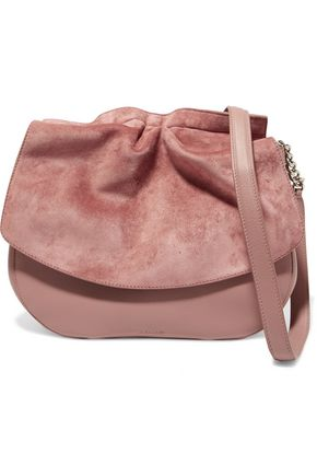 JIL SANDER Suede and leather shoulder bag