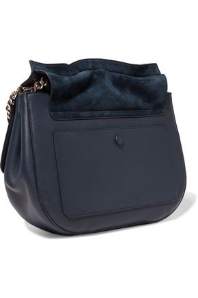 JIL SANDER Suede and leather shoulder bag
