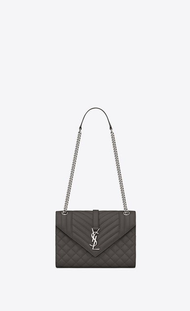 SAINT LAURENT Monogram envelope Bag Woman Medium ENVELOPE bag in quilted and textured earth leather a_V4