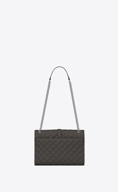 SAINT LAURENT Monogram envelope Bag Donna Medium ENVELOPE bag in quilted and textured earth leather b_V4
