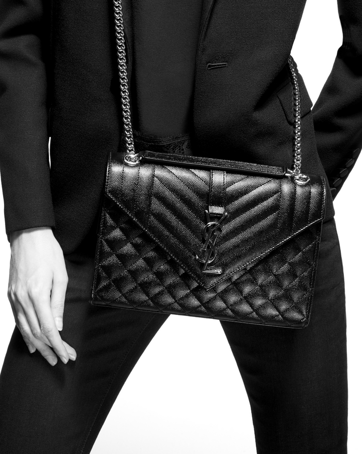 b923be2db3 Saint Laurent Medium Envelope Bag In Grain De Poudre Embossed ...