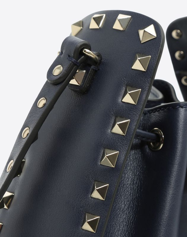 Small Navy Rockstud Bucket Bag