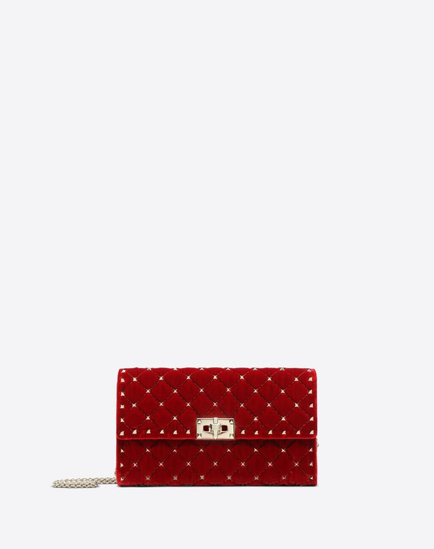 Velvet Rockstud Spike crossbody clutch