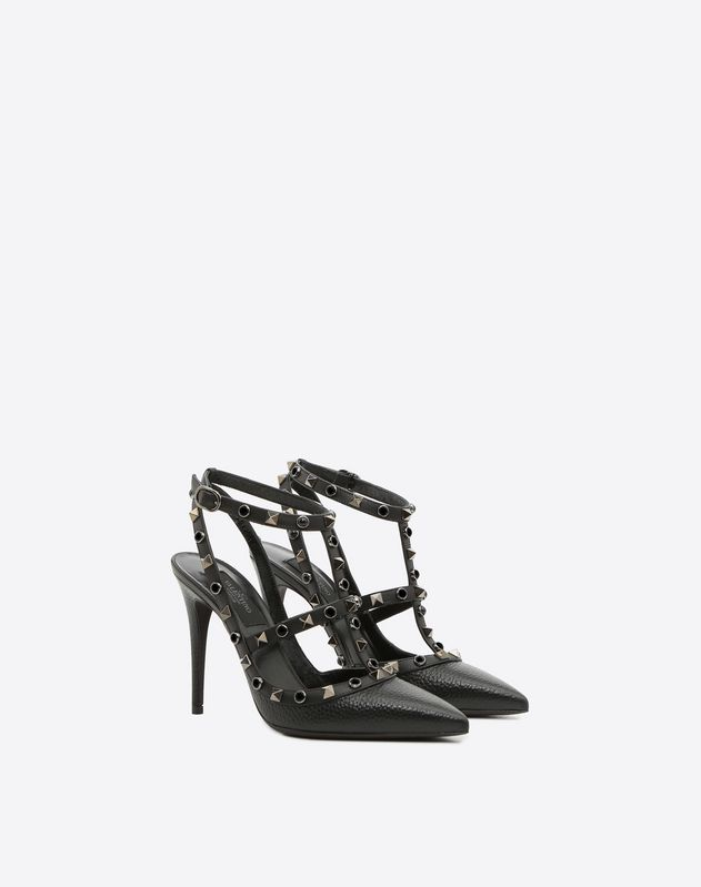 Grain calfskin leather Rockstud Rolling Noir caged Pump 100mm