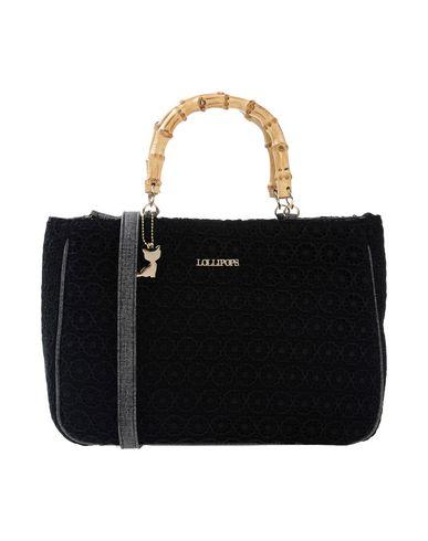 LOLLIPOPS レディース ハンドバッグ ブラック 紡績繊維 40% / ポリエステル 30% / コットン 30%