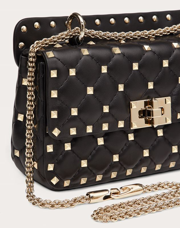 Small Rockstud Spike Nappa Leather Bag