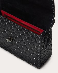 Large Crinkled lambskin Rockstud Spike bag