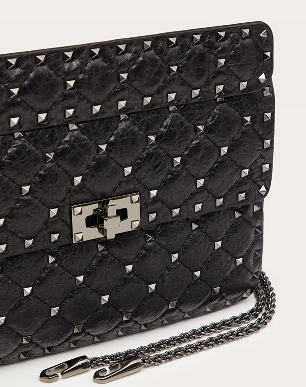 Medium Crinkled lambskin Rockstud Spike Bag