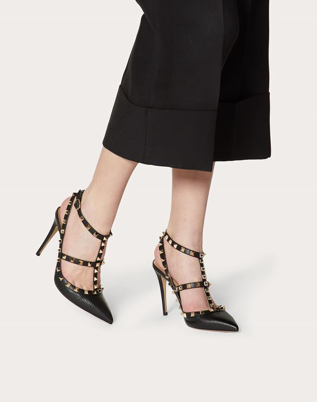 Grain Calfskin Leather Rockstud Caged Pump 100mm
