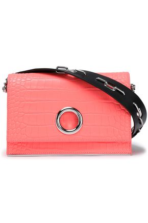 ALEXANDER WANG Ring-detailed croc-effect leather shoulder bag