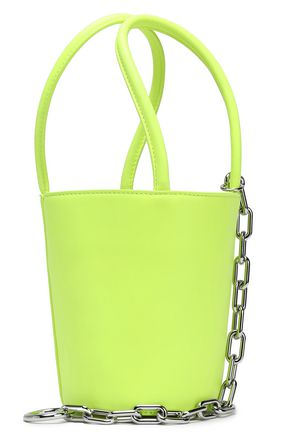 ALEXANDER WANG Chain-embellished neon leather tote bag