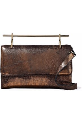 M2MALLETIER Iridescent cracked-leather and calf hair shoulder bag
