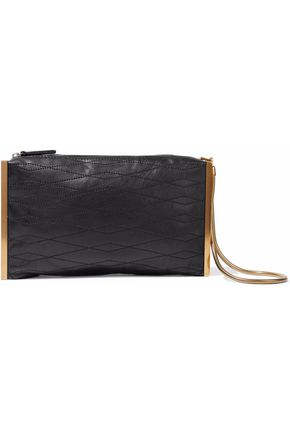 LANVIN Gold-tone and leather clutch