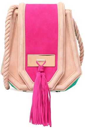 BALMAIN Color-block tasseled suede shoulder bag