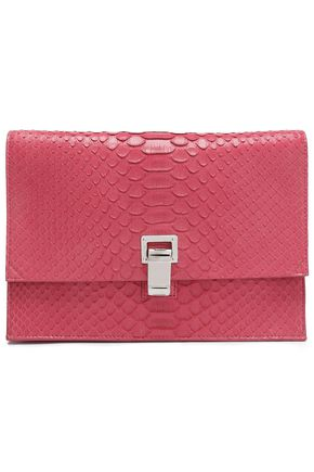 PROENZA SCHOULER Neon snake-effect leather clutch