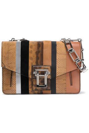 PROENZA SCHOULER Paneled snake, suede and leather shoulder bag