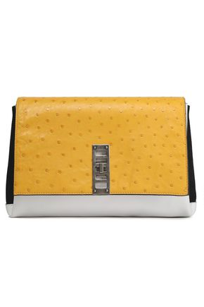 PROENZA SCHOULER Color-block suede, smooth and ostrich-effect leather clutch