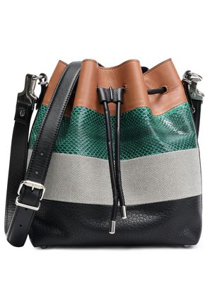 PROENZA SCHOULER Paneled woven, smooth, pebbled and python-effect leather bucket bag