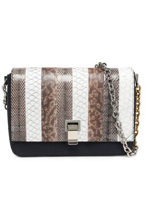 PROENZA SCHOULER Courier snake, leather and canvas shoulder bag