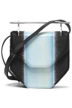 M2MALLETIER Calf-hair and patent-leather shoulder bag