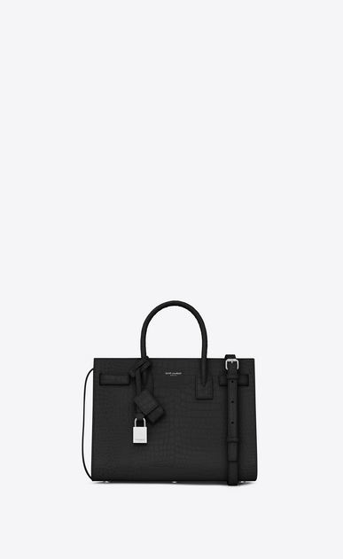SAINT LAURENT Baby Sac de Jour Woman baby sac de jour bag in black crocodile embossed leather a_V4
