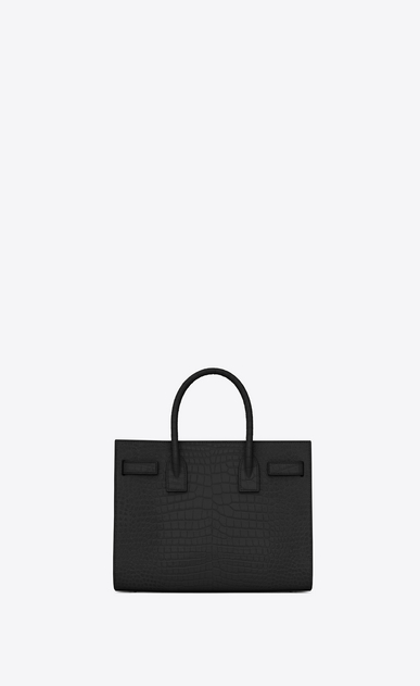 SAINT LAURENT Baby Sac de Jour Woman baby sac de jour bag in black crocodile embossed leather b_V4