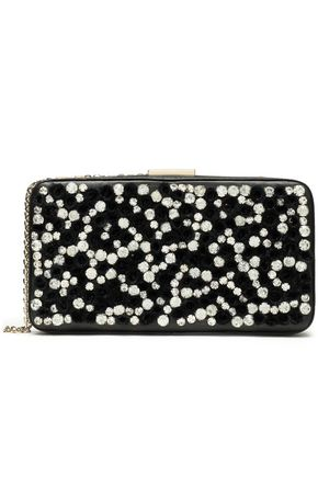 VALENTINO Embellished embroidered leather box clutch
