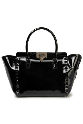 VALENTINO Studded patent-leather tote