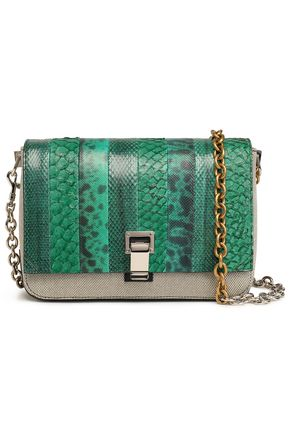 PROENZA SCHOULER Courier python, snake-effect leather and canvas shoulder bag
