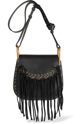 CHLOÉ Hudson small whipstitched tasseled leather shoulder bag