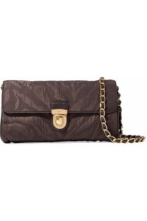 PRADA Leather-trimmed printed satin-twill clutch