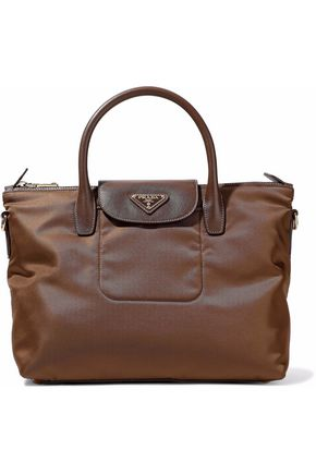 PRADA Textured leather-trimmed shell tote