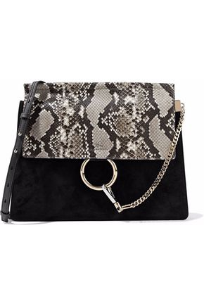 CHLOÉ Faye python, suede and leather shoulder bag