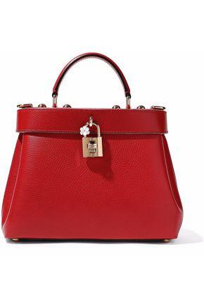 DOLCE & GABBANA Studded pebbled-leather shoulder bag