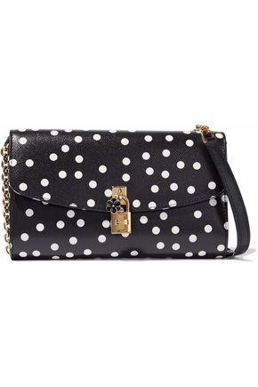DOLCE & GABBANA Embellished polka-dot textured-leather shoulder bag