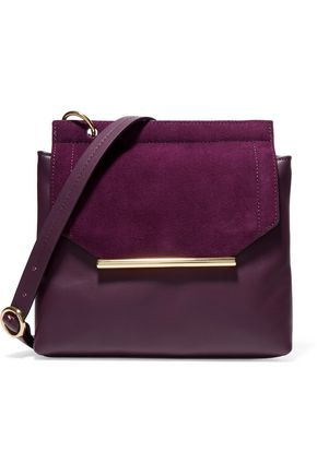 HALSTON HERITAGE Suede-trimmed leather shoulder bag