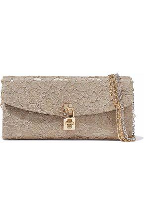 DOLCE & GABBANA Lace-appliquéd embellished satin clutch